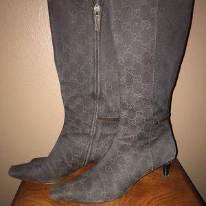 Gucci brown denim logo kitten heel boots
